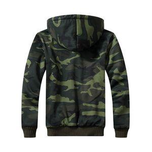 Kış Fleece Kapüşonlular Erkekler Fermuar Kamuflaj Kapşonlu Coat Marka Erkek Eşofman Kazak Bombacı Ceketler ABD / Euro Boyut Hoody Isınma