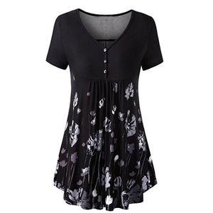 V-образным вырезом туника топ рубашка кнопка передняя плиссированные вспыхнул цветок рубашка летнее платье женская черная рубашка короткая футболка секс платье готический