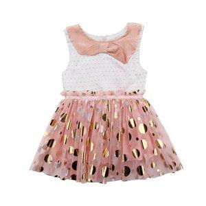 2018Sommer Kleinkind Kinder Mädchen Kleidung Polka Dot Umlegekragen ärmellose Baumwolle lässig Baby Tüll Party Mini Kleider ein Stück