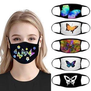 Designer Gesichtsmaske erwachsene Frauen schwarze Gesichtsmasken Karikatur gedruckt Schmetterling Baumwolle Masken atmungsaktive net rote Masken
