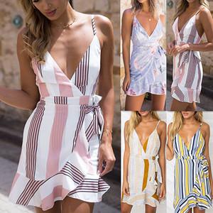 Dress Summer Beach 2019 donne Boho Style Bandage Abiti spalle Backless sexy della cinghia di Sundress del partito Vestito longuette Vestiti J190514