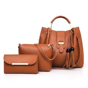 2019Hot New Classic Plain Vintage Style Cross Body Bag para las mujeres de moda bolsa de cubo del hombro para las mujeres de negocios señora bolso monedero Totes