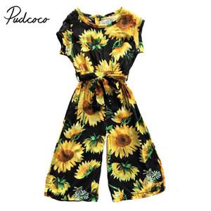 Pudcoco 2018 Crianças Floral Bebés Meninas Romper Boho girassol Sashes Jumpsuit sunsuit beleza do verão férias Outfits roupas 1-6T