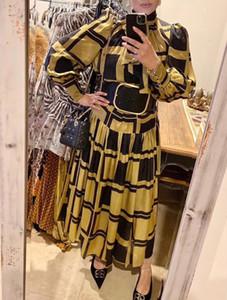 Modedesigner Sommer Geometrische Druck-Rock Anzug Frauen-Pullover mit Stehkragen Laterne-Hülsen-Bluse + Maxi-Rock-Zweiteiler