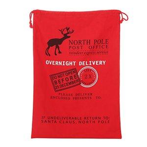 2017 New Year 1pcs Creative Santa Claus Deer 6 Styles Drawstring Canvas Santa Sack Rustic Vintage Christmas Gift Bag Decoration