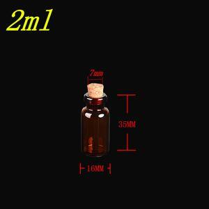 16 * 35*7 мм 2 мл стеклянные янтарные флаконы с пробкой пустые маленькие коричневые крошечные стеклянные банки мини стеклянные бутылки флаконы банки 100шт