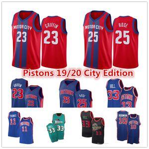 DetroitPistons Jersey Blake Griffin 23 Derrick # 25 Rose Grant 33 Colina Dennis Rodman 10 Isaiah Thomas Cidade Red Edição Basketball Jersey