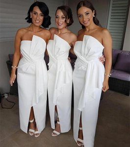 Cheap White Sheath Bridesmaid Dresses Strapless Neck Front Split Country Maid Of Honor Gowns Floor Length Satin Wedding Guest Dress