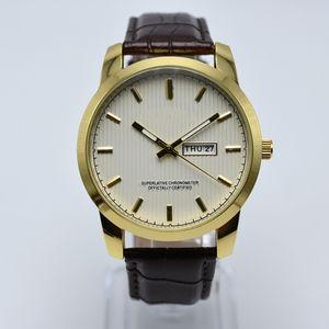 Frete grátis cinto de couro de quartzo 40mm caso de ouro homens de luxo relógio de designer data dia anal relógios mens dropshipping presentes homens relógio de pulso