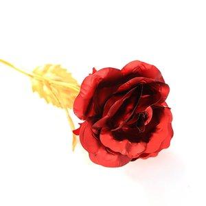 Aşık Düğün Noel Kaplama 24K Altın Folyo Gül Romantik Presents için 24K Altın Rose 50pcs Yapay Gül Flower 25cm Yaratıcı Hediyeler