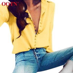 OOTN 2020 Fashion Blouse Tops Womens Elegant Long Sleep Yellow Shirt Ladies Casual Streetwear Summer blouse Female Button Down