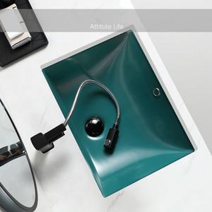 Vase en céramique Sous Compté Lavabos gris noir mat vert lavage bassin bol avec vidange doux tuyau moderne évier