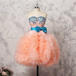 Cute Short Prom Dresses WIth Sash Bows Beads Appliques Ruched Cocktail Party Dress Real Images robe de soiree