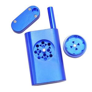 Magnética de aluminio Tabaco Dugout múltiples funciones del metal Conjunto fumar tabaco con Almacenaje + Grinder + Tubos todo en uno LXL1136-1