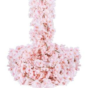 Artificial Kirschblüten Garland 6Pcs Silk Blumen-Girlande Rosa hängende Rebe für Hochzeit Hauptdekoration