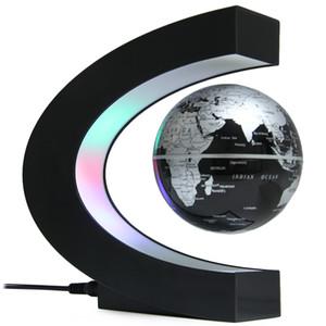 free shipping C Shape Levitation Floating Globe Rotating Magnetic World Map Colorful LED Lamp Gift Decoration