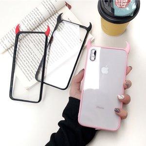 Luxo 3D chifres Phone Case para iPhone 6 6Plus 6s 6Plus 7 7plus 8 8plus X XR XS Max preto bonito Red Acrílico tampa traseira Funda
