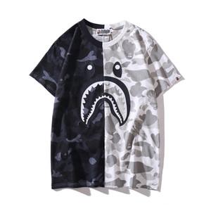 New Summer Lover Nero Bianco Camo Cuciture girocollo T-shirt Uomo Casual Sport Hip Hop T-shirt a maniche corte