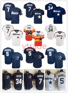 Hommes Cousu Throwback 7 Craig Biggio Houston jersey Astro 34 Nolan Ryan 5 Jeff Bagwell Maillots Vintage
