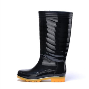 Hot Sale- Rain Boots Thin section Black Chains Waterproof Welly Plaid Knee-High Rainboots 2016 New Fashion Design Tall High Goo