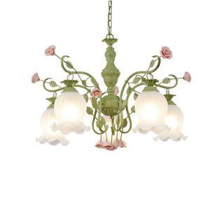 LED 꽃 펜던트 샹들리에 5 팔 펜던트 조명 로즈 여자 침실 천장 램프 거실 꽃 유리 전등 갓의 D64 모양의