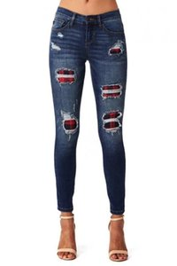 Ripped Holes Patchwork Denim jeans Autumn Women high waist Retro Skinny Pencil jeans lady Casual Trousers Stretch Pant plus size