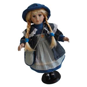 40cm 16 pulgadas de estilo victoriano elegante porcelana Muñeca moda que llevaba vestido azul, cerámica soporte de exhibición muñecas coleccionables Con