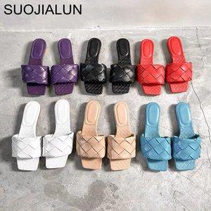 SUOJIALUN 2020 nouvelle marque Chaussons en cuir Weave femmes Sandales à bout ouvert plat Slides Casual été en plein air Plage Femme Flip Flops