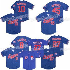 Montreal Expos 8 Gary Carter 10 Andre Dawson Jersey 27 Vladimir Guerrero 45 Pedro Martinez Baseball Jerseys costuras duplas