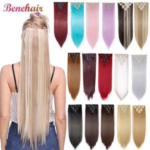 ynthetic Clip-nos clipes extensões BENEHAIR em extensões pedaço de cabelo sintético Hairpieces retos para Azul Rosa Mulheres Branco Vermelho Roxo ...