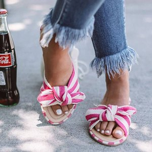 Mulheres Flats Chinelos Stripe bowknot Abrir Toe Sandals plano Heel Slippers Feminino Flip Flops Slides Moda Feminina Praia Shoes