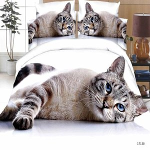 Luxury Smart 3d bedding set bedclothes 4pcs bed set Duvet Cover flat sheet Home Textiles pillowcase Queen size Cat tiger Lion