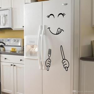 Gıda Mobilya Dekorasyon Sanat Poster DIY PVC 4 stilleri için Yüz Duvar Sticker Mutlu Lezzetli Yüz Buzdolabı Çıkartma Yummy Gülümseme