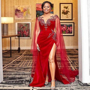 2020 Red Mermaid Evening Dresses Sheer Neck Side Split Crystal Beads Illusion Bodice Long Women Formal Prom Party Gowns vestidos de noche