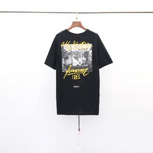 1033 # 18ss 100% cotone Summer Street wear Europa Parigi Fashion o f f Uomo High Quality Cotton Tshirt Casual Tee donna T-shirt EUR TAGLIA S-XL