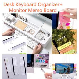 Plastik Ofis masası klavye Organizatör ile Monitör Memo Kurulu Masaüstü depolama Raf bilgisayar ekran yapışkan Raf ofis malzemeleri