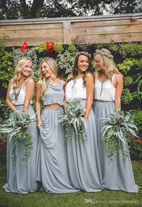Дешевые страна шифон серый макси юбки и ремень белые топы платья невесты две части Boho платья для невесты длинные