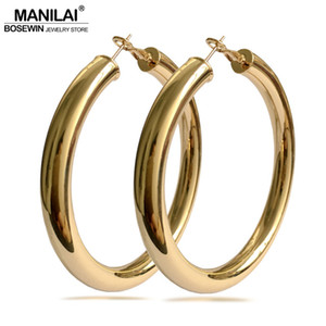 Hoop MANILAI Classic 70mm Diameter Wide Copper Big Hoop Earrings Fashion Jewelry Statement Earrings For Women Brincos Punk Round