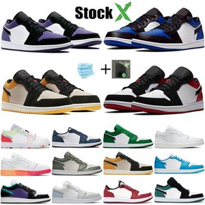 Männer Jumpman Low 1s 1 OG Basketball-Schuhe UNC Chicago Top 3 Travis Scotts Gold Royal Toe Kiefer grüne Frauen Stylist Schuhe Sneakers