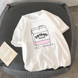 Japanese Summer Chic Cute Cartoon Peach Milk Letter S 2Xl T Shirt Fun Harajuku Ins Sweet Print Tops Female Tees Ulzzang Clothing