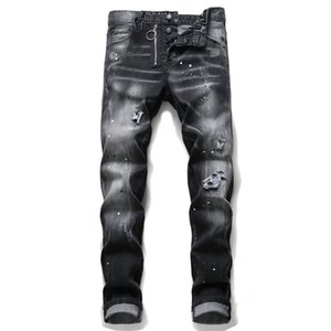 Unico Mens Distressed Distintivo nero Jeans aderenti Stilista di moda slim fit lavato Moto denim Pantaloni Hip Hop a pannelli Biker Pantaloni 1056