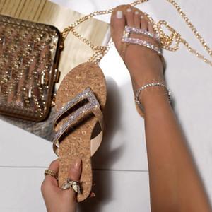 Sapatas de cristal Mulher Praia Sandals chinelas Ladies Crystal Beach Sliders Chinelos Sapatos casuais 2020 Chaussure Femme