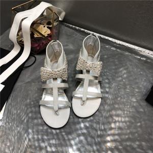 disegno delle donne di marca di bowknot di piatti sandali di estate sandali del caricamento del sistema a spina di pesce Ankel moda romana sandali paillettes stile perline