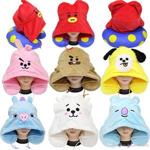 U 7 색 만화 인형 봉제 동물 모자 쿠션은 열 목 베개 사랑스러운 귀여운 화려한 자수 베개 DH0725 모양의