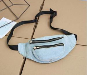 5pcs Borse Donne Vita Demin Plain casuale della vita pacchetto di Fanny 2colors Cowboy Top Zipper torace Borse