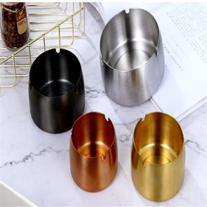 Placcato oro Ash Tray in acciaio inossidabile Muti Colore posacenere posacenere frangivento Sanding Hotel Internet Cafe per Fumatori 9 4 Hz C2