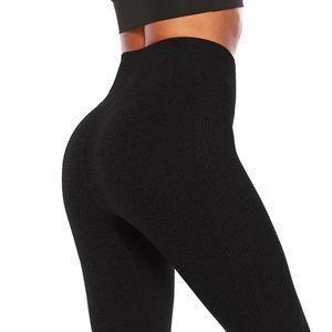 Leggings de fitness Elástico Cintura alta Leggings de entrenamiento para mujeres Jogging Sporting Push Up Hip Slim gris sólido pantalones de algodón negro