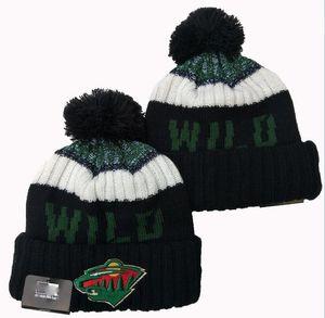 NUOVO righe Sideline design Minnesota Wild Beanie Sport Cuffed Cappello di lana di lana lavorato a maglia cofano Warm Berretti Calotta Uomini Donne