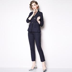 Chaqueta y pantalones Cuatro nudos Traje formal del encogimiento de hombros del hombro oblicuo botón Trajes Blazer juegos delgados Traje de la moda de las mujeres