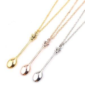 Charme cuillère à thé minuscule collier pendentif avec la couronne collier 3 couleurs Creative Mini Long lien Bijoux Colliers Cuillère